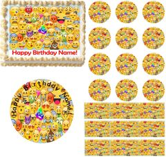 Emojis Collage Emoticons Edible Cake Topper Image Frosting Sheet Cake Decoration