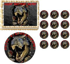 JURRASIC WORLD T REX Face Edible Cake Topper Image Frosting Sheet