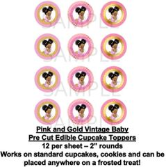 Pink and Gold Afro Puffs Vintage Baby EDIBLE Cupcake Topper Images Baby Cupcakes