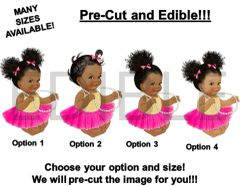 PRE-CUT Hot Pink Gold Tulle Skirt Sitting Baby Girl EDIBLE Cake Topper Image Cupcakes