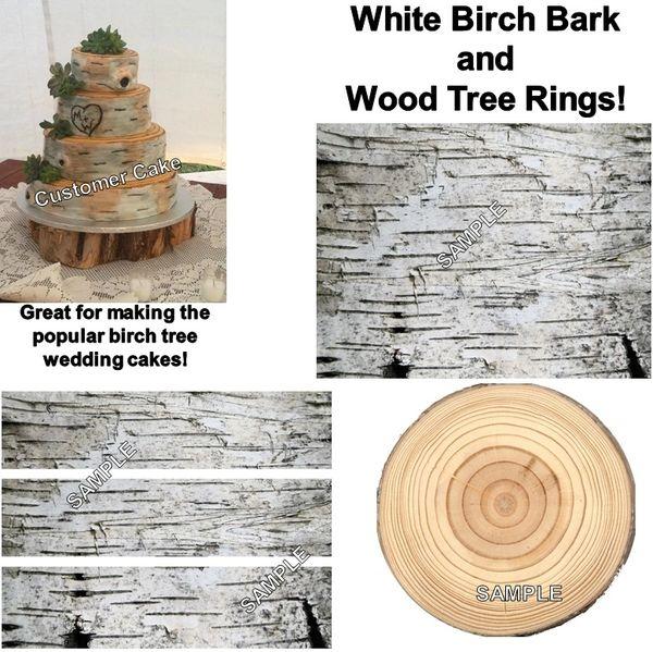Birch Bark Wood Tree Rings Edible Cake Topper Birch Cake