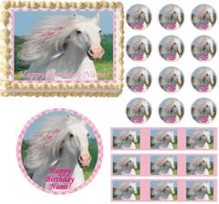 HEART MY HORSE Pink Pony Edible Cake Topper Image Frosting Sheet