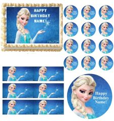 FROZEN ELSA Blue Background Party Edible Cake Topper Image Frosting Sheet