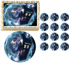 DOCTOR WHO TARDIS Vortex Edible Cake Topper Image Frosting Sheet