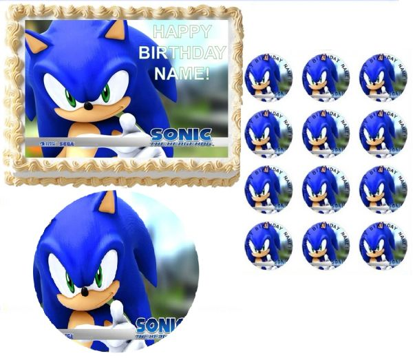 Sonic The Hedgehog Face Edible Cake Topper Image Frosting Sheet Cake Decoration