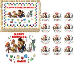 PAW PATROL Puppy Print Border Edible Cake Topper Image Frosting Sheet