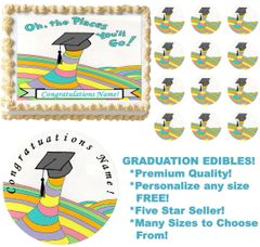 Oh The Places You'll Go Graduation Edible Cake Topper Image Frosting Sheet