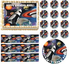 OUTER SPACE ROCKET SHIP Party Edible Cake Topper Image Frosting Sheet