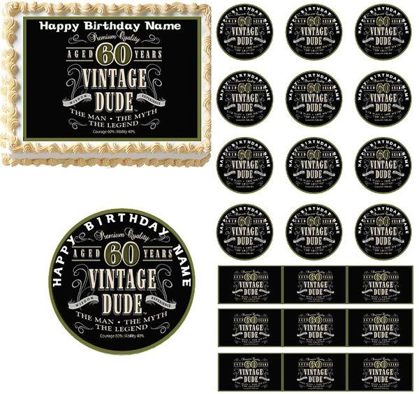 Vintage Dude 60th Milestone Edible Cake Topper Image Decoration Cupcakes