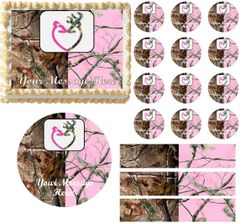 Realtree Pink Realtree WEDDING BUCK DOEEdible Cake Topper Image Frosting Sheet