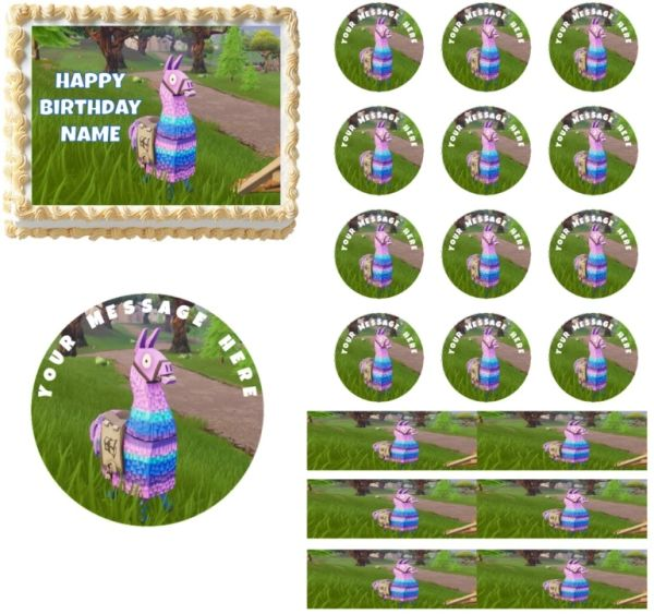 Fortnite Llama Edible Cake Topper Image Cupcakes Fortnite Edible Cake Decoration