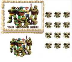 TEENAGE MUTANT NINJA TURTLES with Girl TMNT Edible Cake Topper Image Frosting Sheet