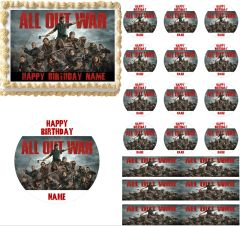 Walking Dead All Out War Edible Cake Topper Image Cupcakes Walking Dead Cake