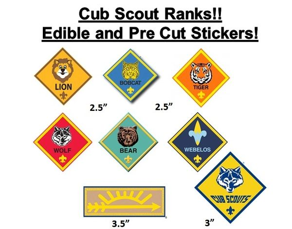 Pre Cut Cub Scout Ranks EDIBLE Cake Stickers Decals Cupcakes, Cub Scout Cake, Lion, Bobcat, Arrow of Light, Weblos, Cub Scouts Edible Images