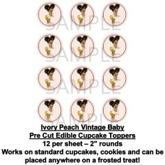 Ivory and Peach Afro Puffs Vintage Baby EDIBLE Cupcake Topper Images Baby Cupcakes