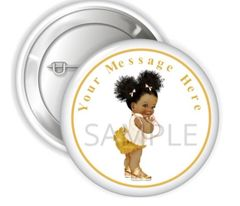 "Ivory Gold Afro Puffs Baby Girl Pinback Buttons, 2.25"" Party Favor Buttons, Baby Shower Pins Decorations, Personalized Buttons, Gold Ruffles"