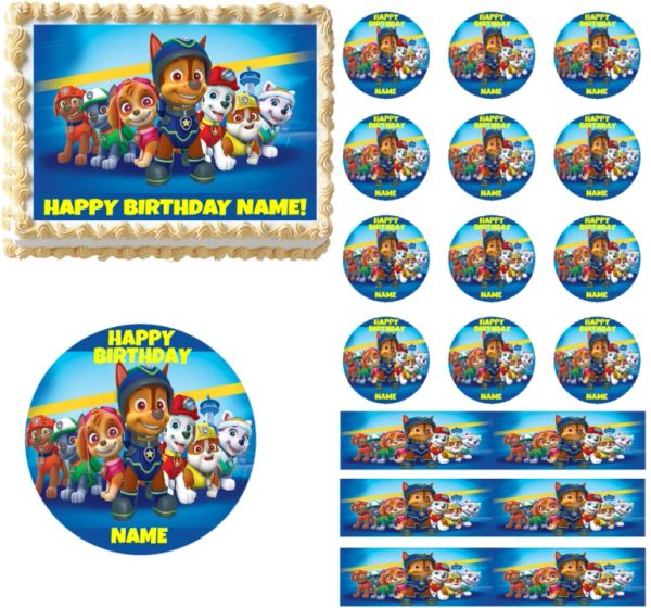 Paw Patrol Cast Edible Cake Topper Image Cupcakes Birthday Decoration