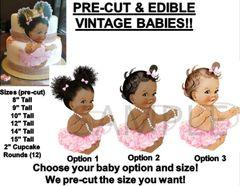 PRE-CUT Pink Tutu Sitting Baby EDIBLE Cake Topper Image Cupcakes Afro Puffs Baby