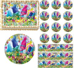Cupcakes and Rainbows TROLLS Edible Cake Topper Image Frosting Sheet Cake Decoration Edible Cupcakes