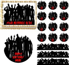 Zombie Silhouette Graveyard Edible Cake Topper Image Frosting Sheet Cake Decoration