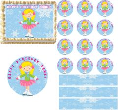 Ice Skating Girl Edible Cake Topper Image Cake Decoration Cupcakes Cookies!
