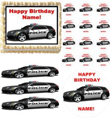 POLICE CAR Rescue Vehicles Edible Cake Topper Image Frosting Sheet