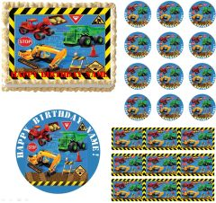 Construction Vehicles Edible Cake Topper, Construction Trucks Edible Cake Topper, Construction Party Supplies, Construction Trucks Cupcakes