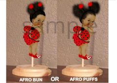 PRE CUT Red Black Ladybug Wings Afro Puffs Bun Baby Girl Centerpiece with Wood Stand OR Card Stock Cut Outs