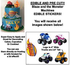 Blaze and the Monster Machines Edible Cake Stickers Edible Decal Cut Outs Blaze