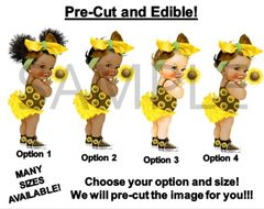 PRE-CUT Yellow Brown Green Baby Girl Sunflower Bow EDIBLE Cake Topper Image