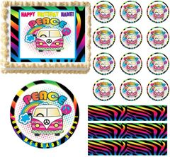 Neon Zebra Hippie Bus Peace Sign Edible Cake Topper Image Frosting Sheet