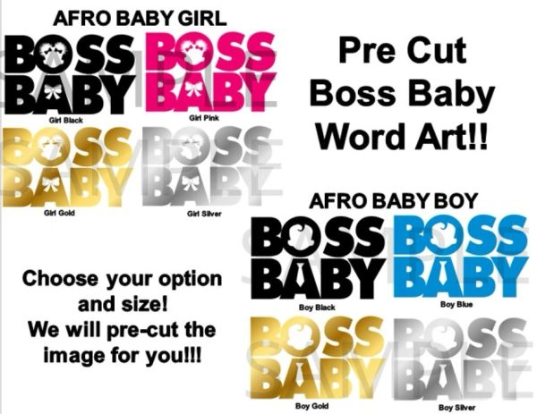PRE CUT African American Boss Baby Girl or Boy Words EDIBLE Pre Cut Stickers Decals Decorations, Boss Baby Words, Puffs Boss Baby Words Cute