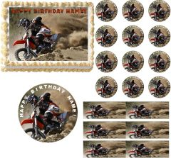 Motocross Dirt Bike Racing Edible Cake Topper Image Frosting Sheet