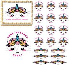 Kawaii Cute Pastel Rainbow Unicorn Face Horns EDIBLE Cake Image Cupcakes Unicorn