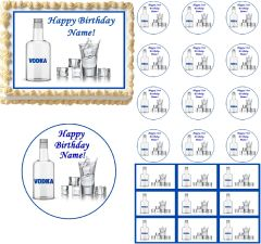 Vodka Bottle Glass Ice Cubes Edible Cake Topper Image Frosting Sheet