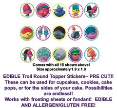 Trolls EDIBLE Cupcake Cookie Cake Pops Edible Rounds Cupcakes PRE CUT Trolls