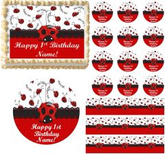 Red and Black LITTLE LADYBUG 1st Birthday Edible Cake Topper Image Frosting Sheet