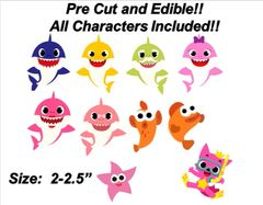 Baby Sharks and Friends Pink Wolf Fish PRE CUT Edible Stickers, Baby Shark Cake, Baby Shark Edible Decals, Baby Sharks Family, Baby Sharks