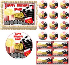 MOVIE AND POPCORN NIGHT Party Edible Cake Topper Image Frosting Sheet