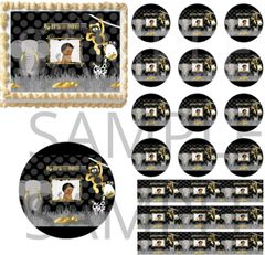 Black and Gold Jungle Safari It's A Boy Afro Baby EDIBLE Cake Topper Image Cupcakes Cake Decoration
