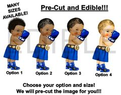 PRE-CUT EDIBLE Royal Blue and Gold Little Prince Boxer Gloves Cake Topper Image Cupcakes