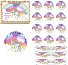 Pastel Rainbow Unicorn Clouds Stars EDIBLE Cake Topper Image Cupcakes Decoration