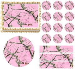 PINK REALTREE Pink Camo Edible Cake Topper Image Frosting Sheet