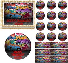 Grunge Graffiti Wall Edible Cake Topper Image Frosting Sheet Cupcakes