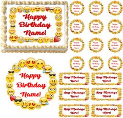Emojis Border Emoticons Edible Cake Topper Image Frosting Sheet Cake Decoration