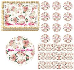 Shabby Chic Pink Roses Flowers Edible Cake Topper Image Frosting Sheet Cake Decoration