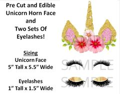 Pre-Cut Unicorn Horn Face Eyelashes EDIBLE Cake Stickers Topper Cake Decoration