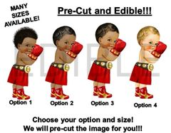 PRE-CUT EDIBLE Red and Gold Little Prince Boxer Gloves Cake Topper Image Cupcakes