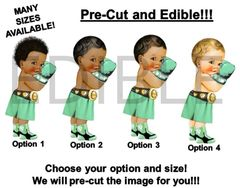 PRE-CUT EDIBLE Mint Green and Gold Little Prince Boxer Gloves Cake Topper Image Cupcakes