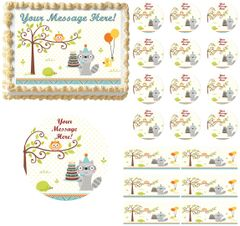 Happy Woodland Animals Boy Edible Cake Topper Image Baby Shower Cake First Birthday
